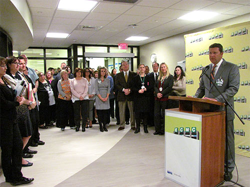 """ECMC Corp. president & CEO Thomas J. Quatroche Jr., PhD, addresses audience during """"ECMC Center for Orthopaedic Care"""" grand opening event held Thursday, April 7, 2016."""