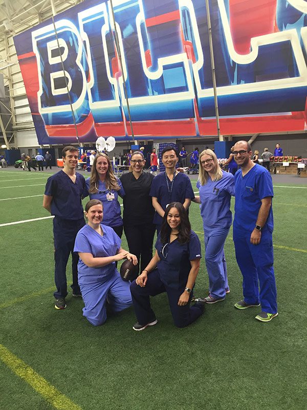 On June 13, 2016, ECMC Dental Residents conducted daylong dental exams and oral hygiene screening for Buffalo Bills players at the team's training facility in Orchard Park.
