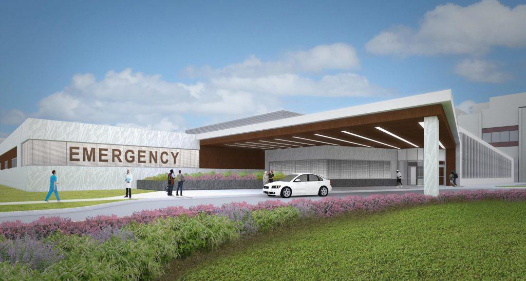 ECMC Trauma Ctr-ED building rendering