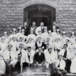 Interns and nursing staff in front of Erie County Almshouse, 1897.