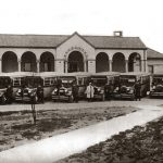 Busses at Day School for Crippled Children, Buffalo City Hospital. Reproduced by permission of the Buffalo & Erie County Public Library, Buffalo, New York