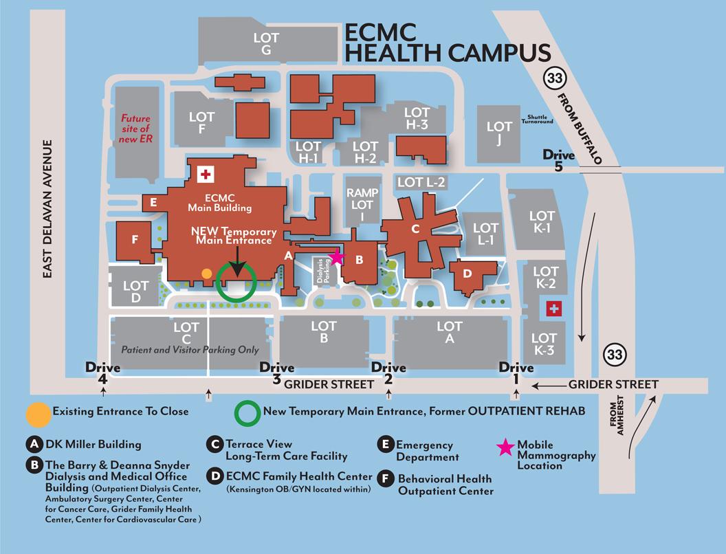 Suny Buffalo Campus Map.Buffalo Medical Campus Map Ecmc Health Campus Patients Visitors